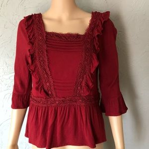 Francesca's Red Flowy Blouse